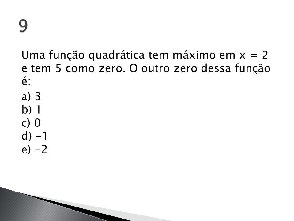 9 Uma função quadrática tem máximo em x = 2 e tem 5 como zero.