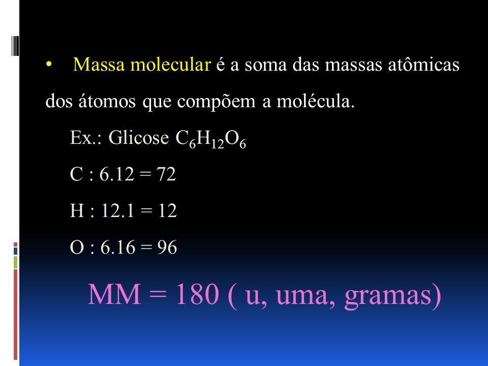 Massa molecular é a soma das massas atômicas dos átomos que compõem a molécula.