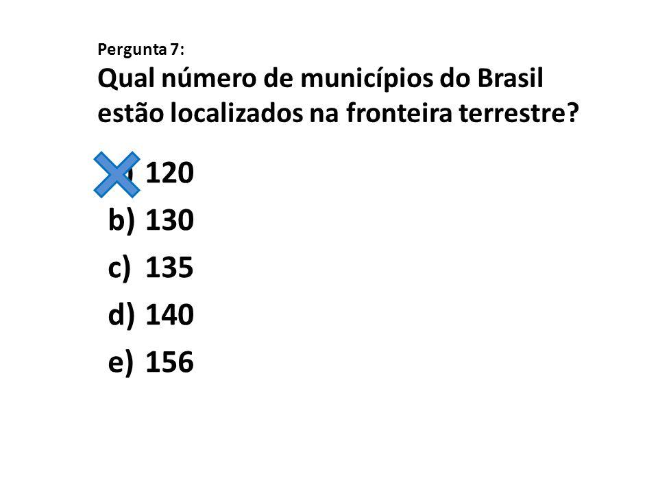 Pergunta 7: Qual número de municípios do Brasil estão localizados na fronteira terrestre