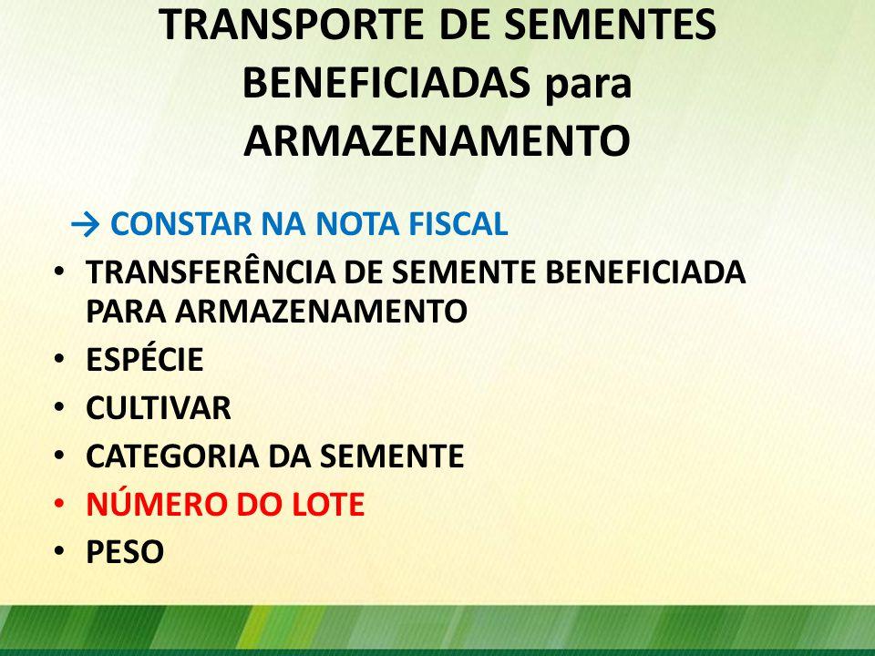 TRANSPORTE DE SEMENTES BENEFICIADAS para ARMAZENAMENTO