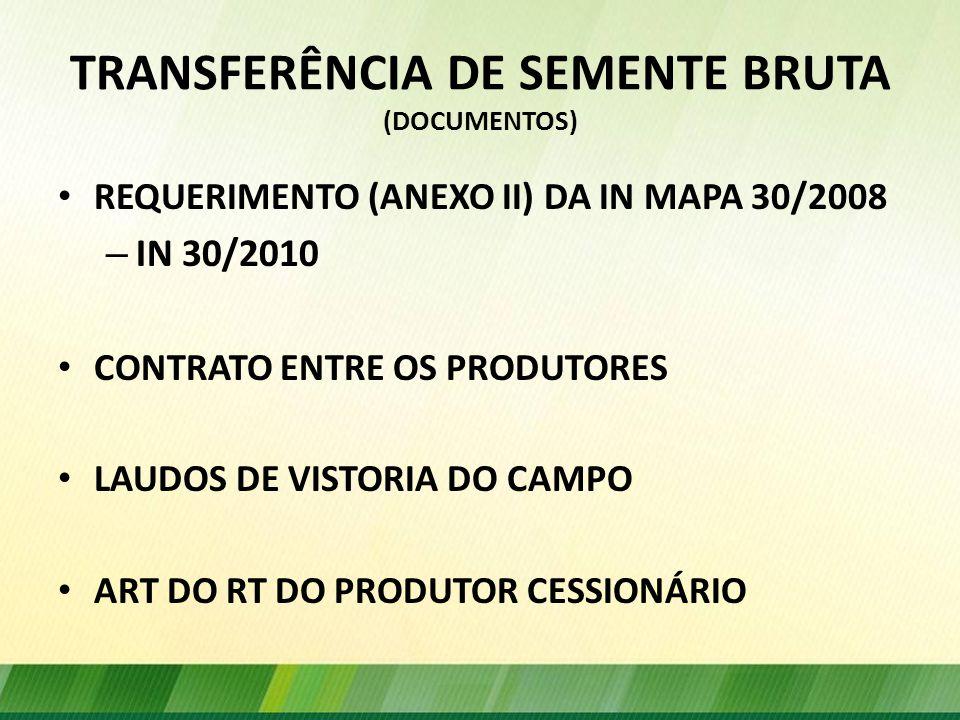 TRANSFERÊNCIA DE SEMENTE BRUTA (DOCUMENTOS)