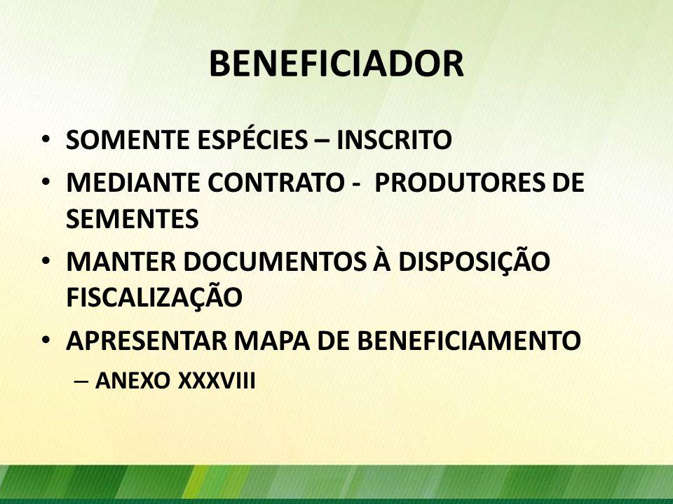 BENEFICIADOR SOMENTE ESPÉCIES – INSCRITO