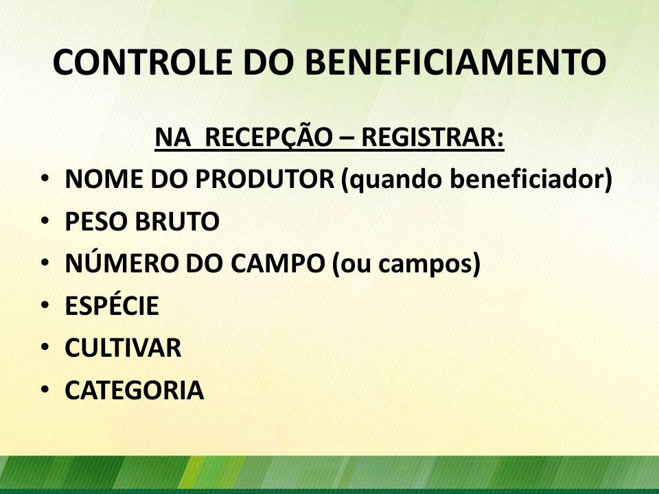 CONTROLE DO BENEFICIAMENTO