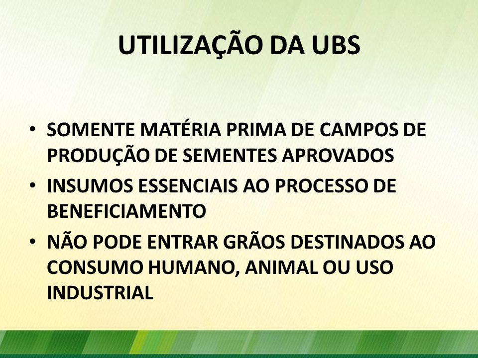 UTILIZAÇÃO DA UBS SOMENTE MATÉRIA PRIMA DE CAMPOS DE PRODUÇÃO DE SEMENTES APROVADOS. INSUMOS ESSENCIAIS AO PROCESSO DE BENEFICIAMENTO.