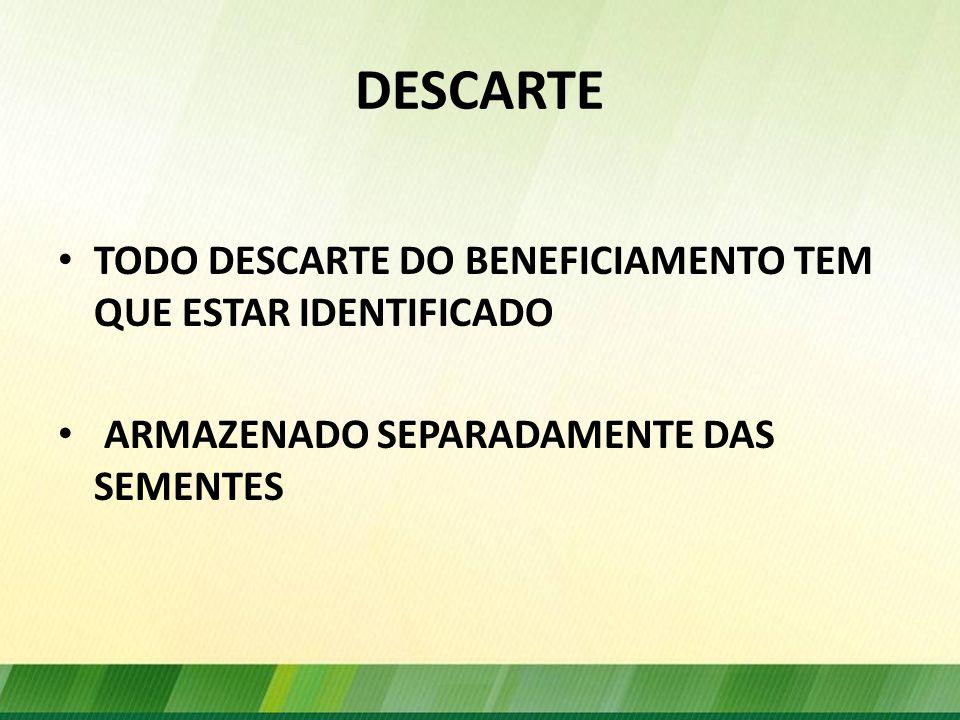DESCARTE TODO DESCARTE DO BENEFICIAMENTO TEM QUE ESTAR IDENTIFICADO