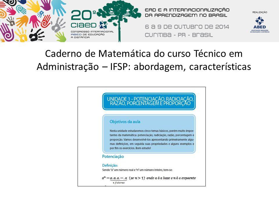 Caderno de Matemática do curso Técnico em Administração – IFSP: abordagem, características