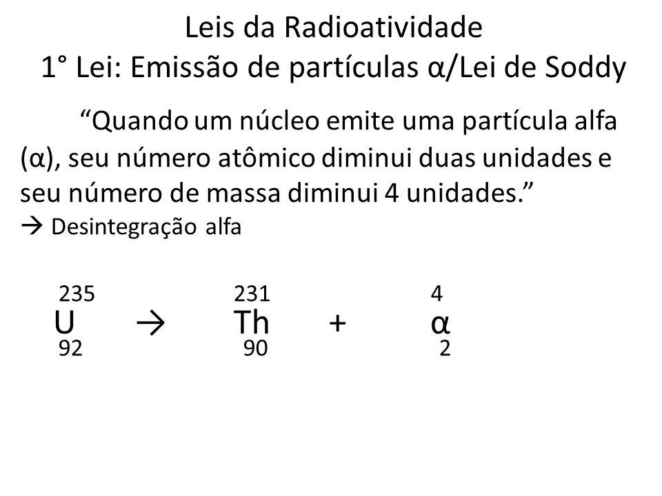 Leis da Radioatividade 1° Lei: Emissão de partículas α/Lei de Soddy