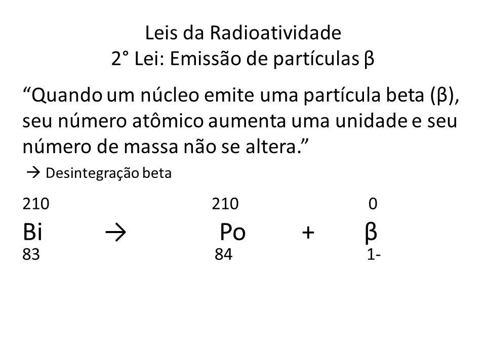 Leis da Radioatividade 2° Lei: Emissão de partículas β