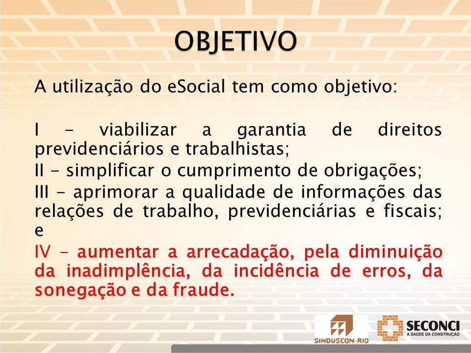 OBJETIVO A utilização do eSocial tem como objetivo: