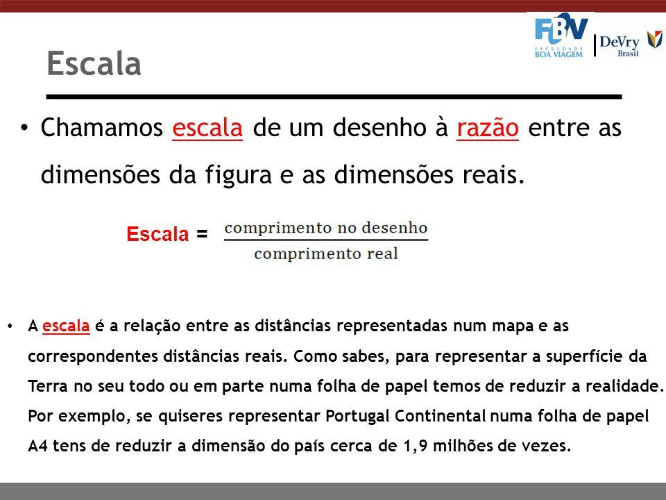 Escala Chamamos escala de um desenho à razão entre as dimensões da figura e as dimensões reais. Escala =