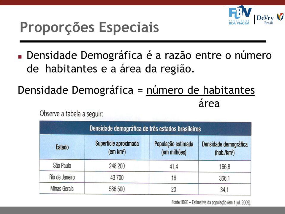 Proporções Especiais Densidade Demográfica é a razão entre o número de habitantes e a área da região.