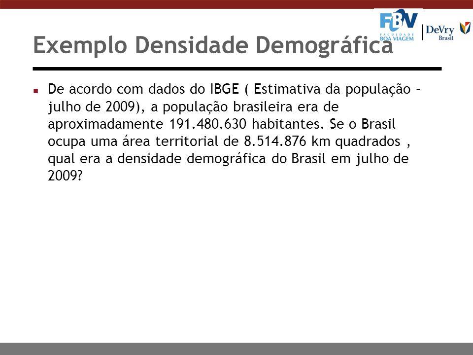 Exemplo Densidade Demográfica