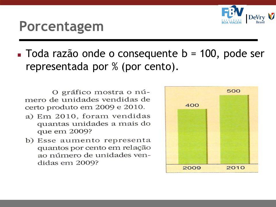 Porcentagem Toda razão onde o consequente b = 100, pode ser representada por % (por cento).