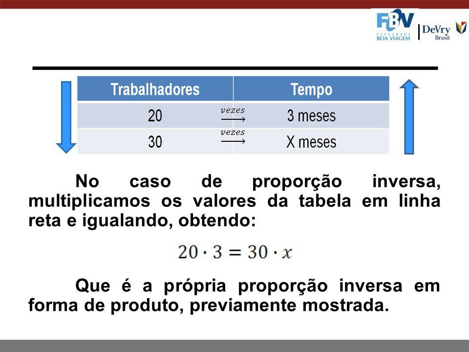 No caso de proporção inversa, multiplicamos os valores da tabela em linha reta e igualando, obtendo: