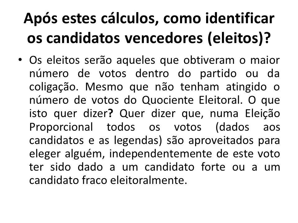 Após estes cálculos, como identificar os candidatos vencedores (eleitos)
