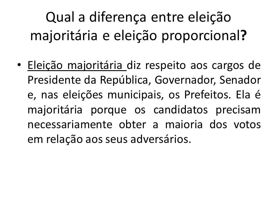 Qual a diferença entre eleição majoritária e eleição proporcional