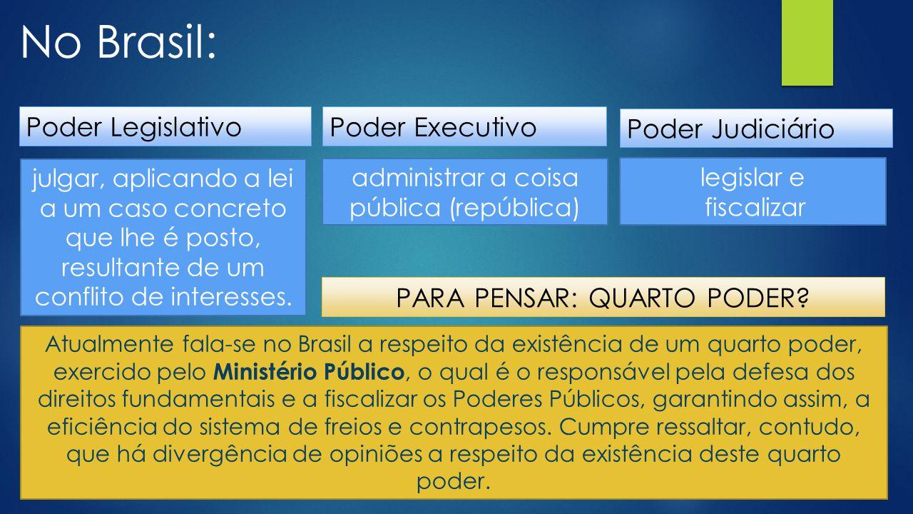 No Brasil: Poder Legislativo Poder Executivo Poder Judiciário