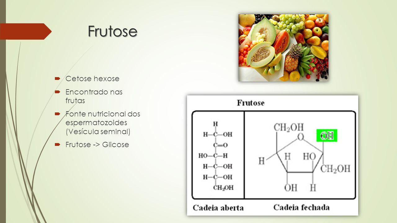Frutose Cetose hexose Encontrado nas frutas