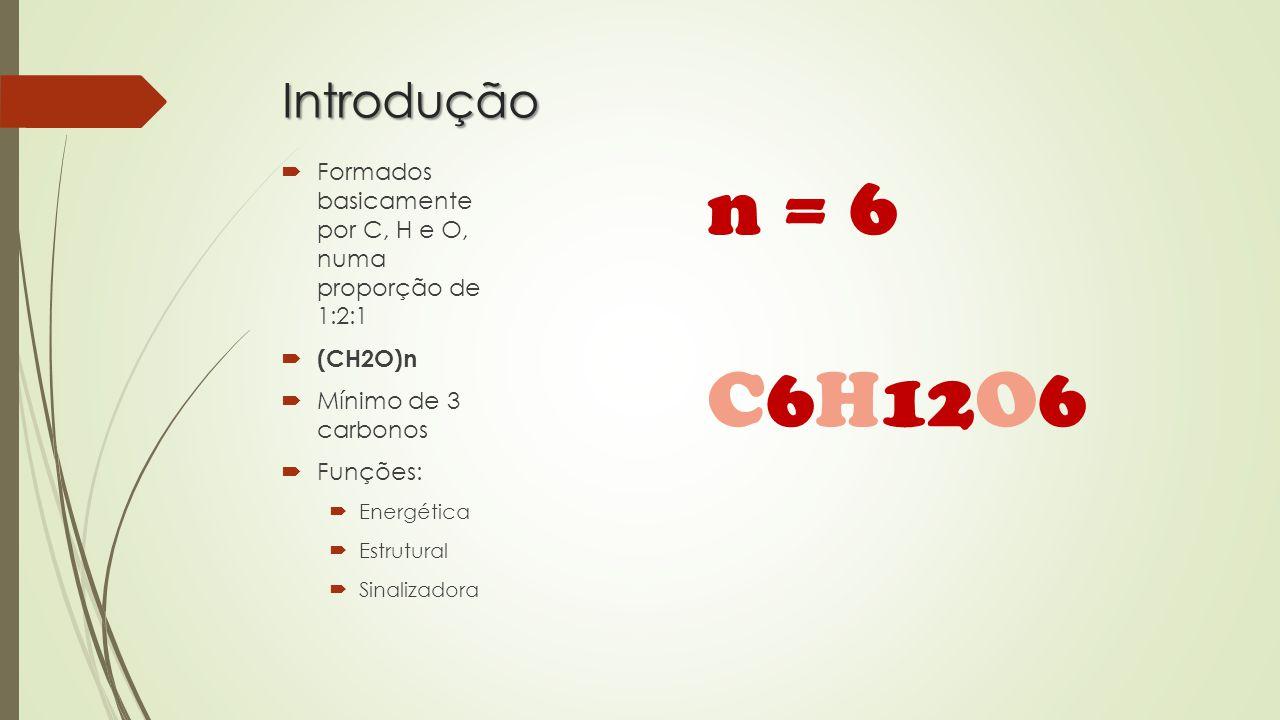 Introdução Formados basicamente por C, H e O, numa proporção de 1:2:1. (CH2O)n. Mínimo de 3 carbonos.