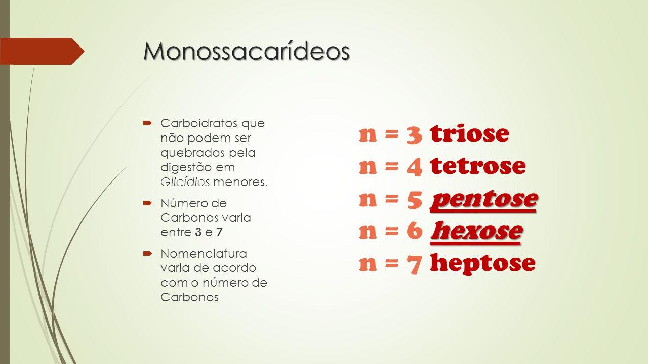 n = 3 triose n = 4 tetrose n = 5 pentose n = 6 hexose n = 7 heptose