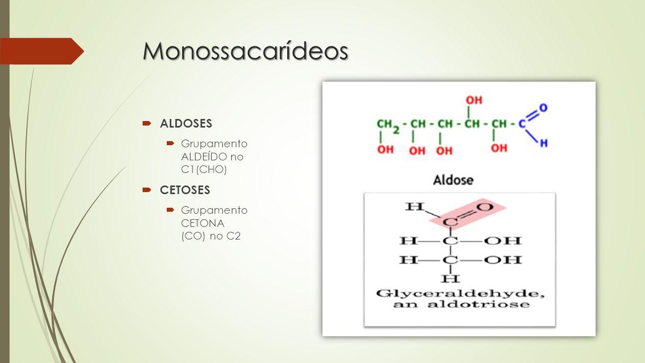 Monossacarídeos ALDOSES CETOSES Grupamento ALDEÍDO no C1(CHO)