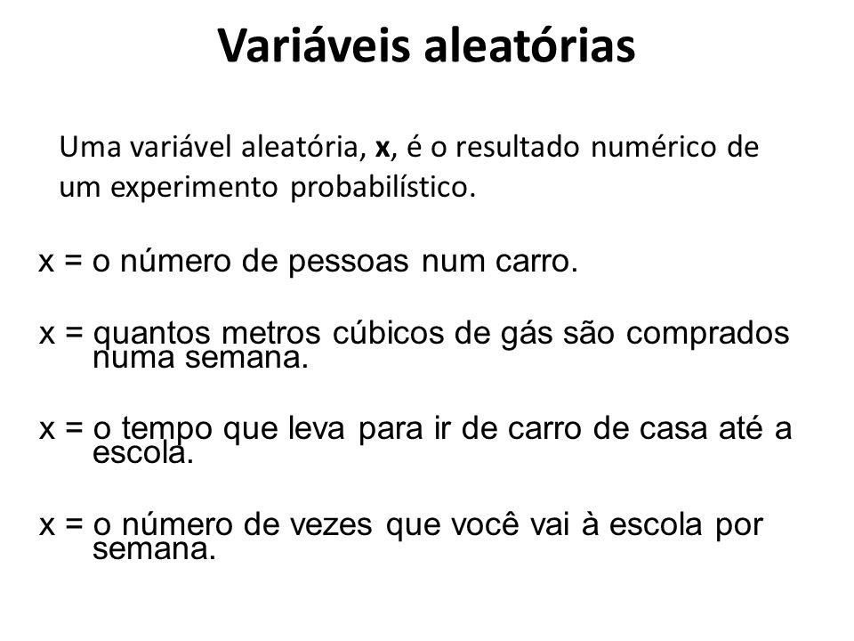Variáveis aleatórias Uma variável aleatória, x, é o resultado numérico de um experimento probabilístico.