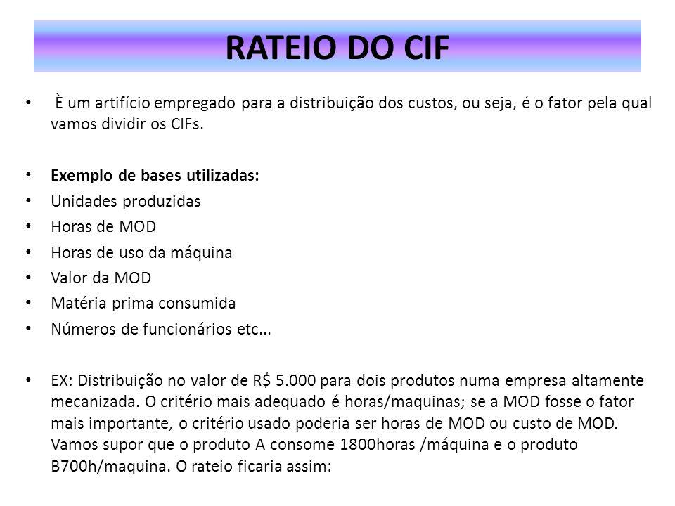 RATEIO DO CIF È um artifício empregado para a distribuição dos custos, ou seja, é o fator pela qual vamos dividir os CIFs.