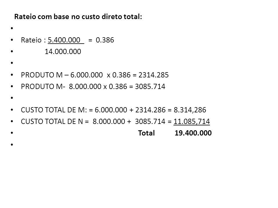Rateio com base no custo direto total: