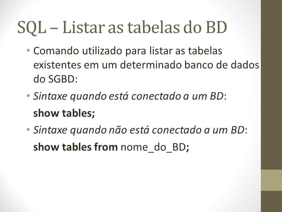 SQL – Listar as tabelas do BD
