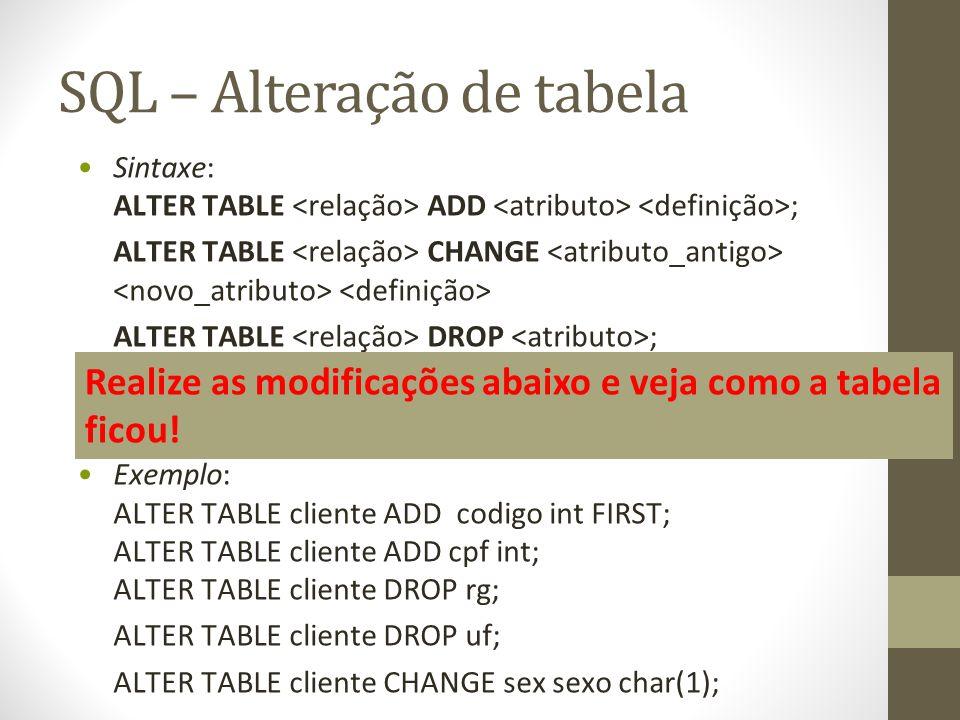 SQL – Alteração de tabela