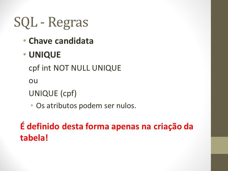 SQL - Regras Chave candidata UNIQUE