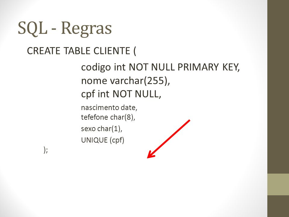SQL - Regras CREATE TABLE CLIENTE (