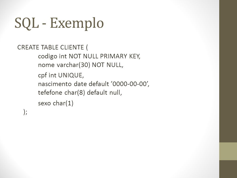 SQL - Exemplo CREATE TABLE CLIENTE ( codigo int NOT NULL PRIMARY KEY, nome varchar(30) NOT NULL,