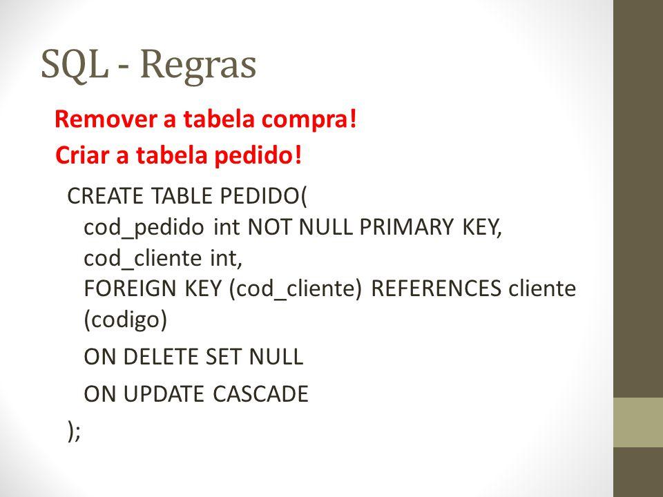 SQL - Regras Remover a tabela compra! Criar a tabela pedido!