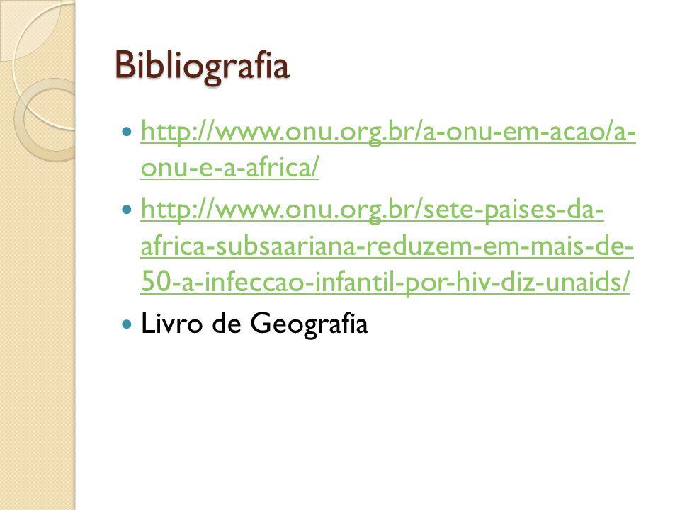Bibliografia http://www.onu.org.br/a-onu-em-acao/a- onu-e-a-africa/