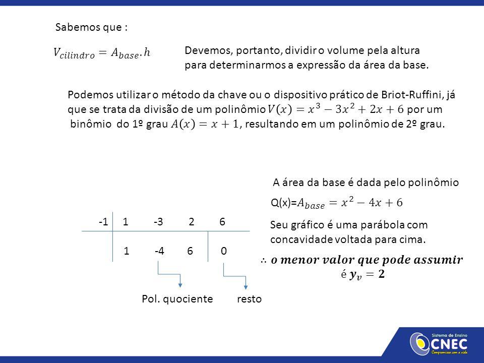 Sabemos que : 𝑉 𝑐𝑖𝑙𝑖𝑛𝑑𝑟𝑜 = 𝐴 𝑏𝑎𝑠𝑒 .ℎ. Devemos, portanto, dividir o volume pela altura. para determinarmos a expressão da área da base.