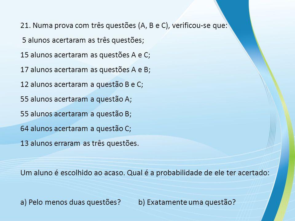 21. Numa prova com três questões (A, B e C), verificou-se que: