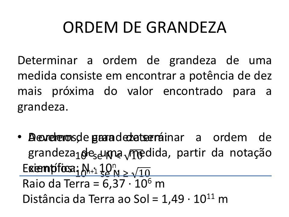 ORDEM DE GRANDEZA