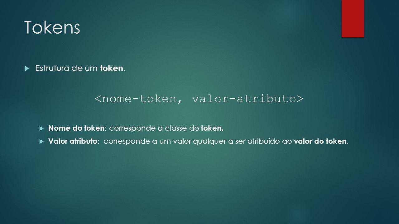 <nome-token, valor-atributo>