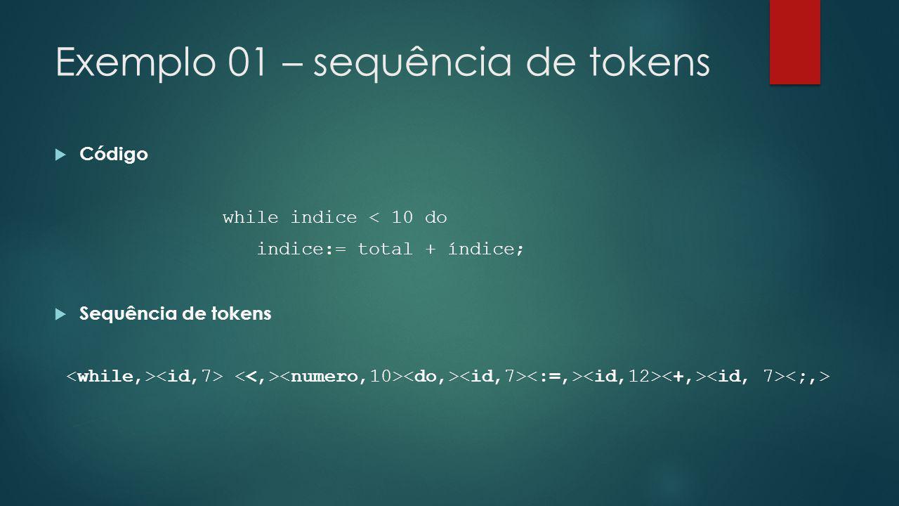 Exemplo 01 – sequência de tokens