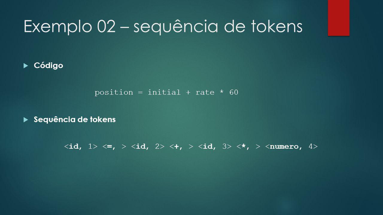 Exemplo 02 – sequência de tokens