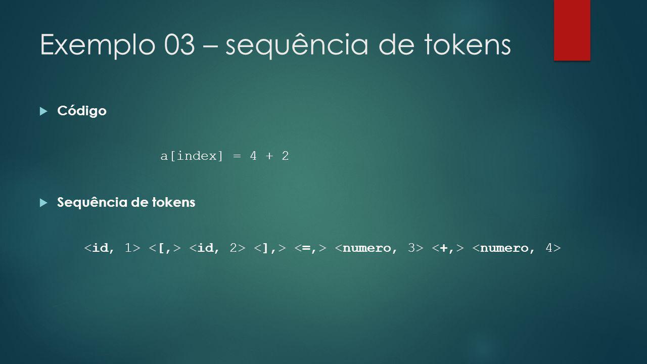 Exemplo 03 – sequência de tokens