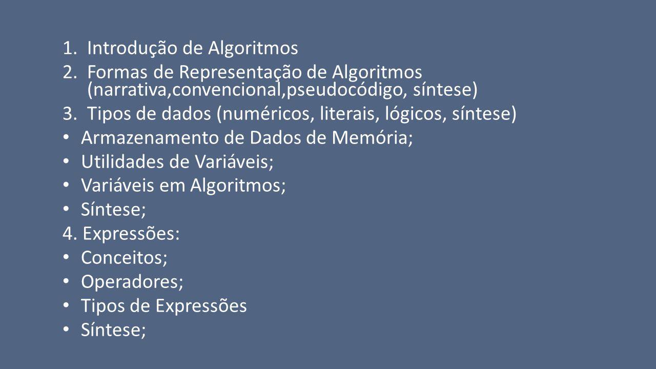 Introdução de Algoritmos