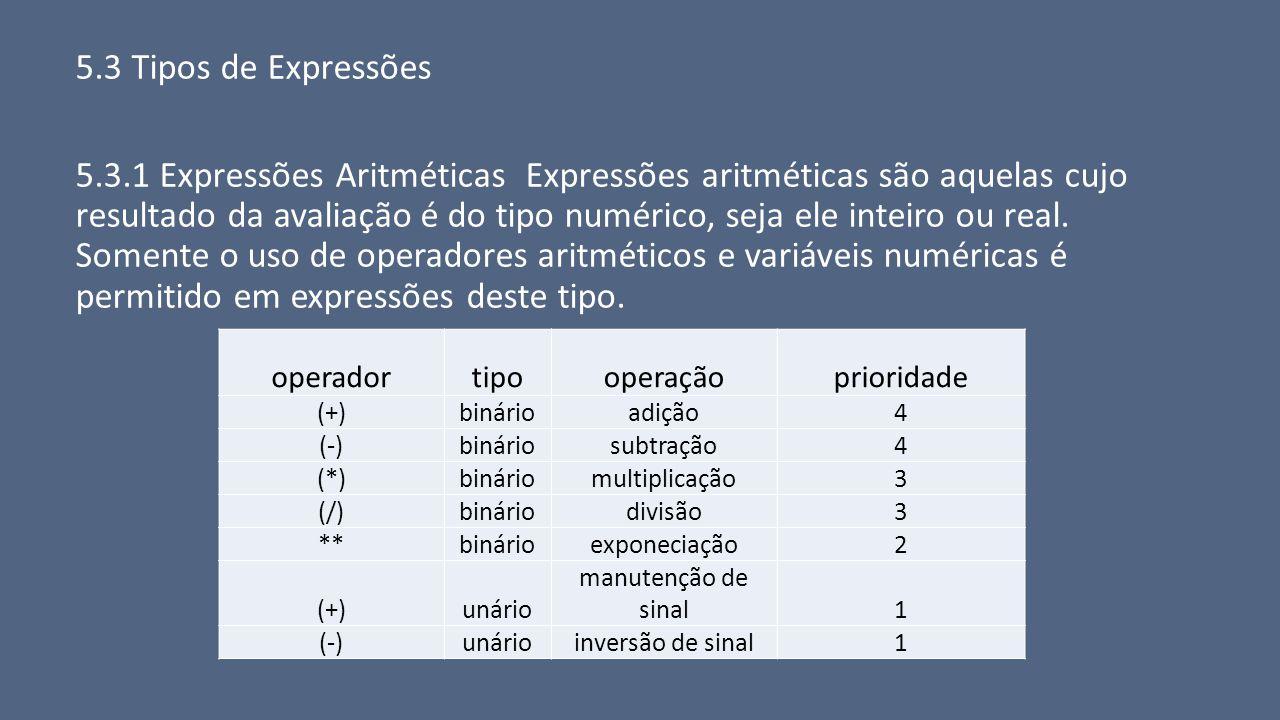 5.3 Tipos de Expressões
