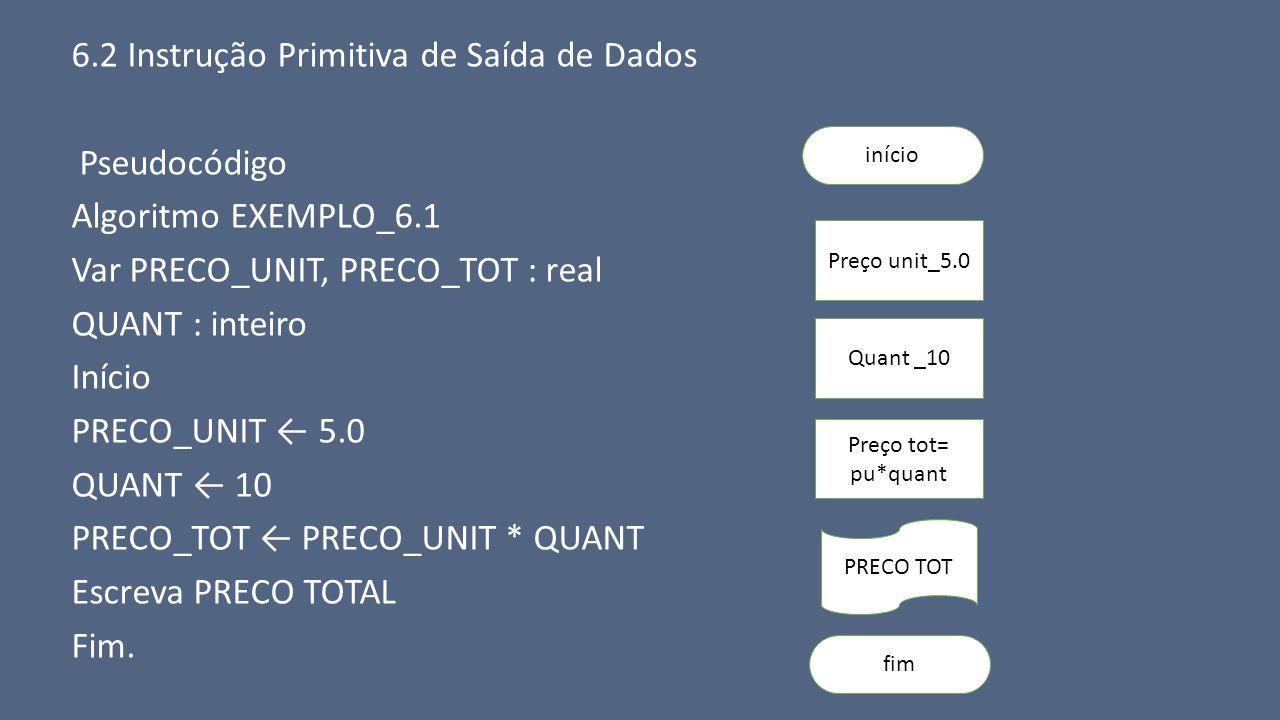6.2 Instrução Primitiva de Saída de Dados Pseudocódigo