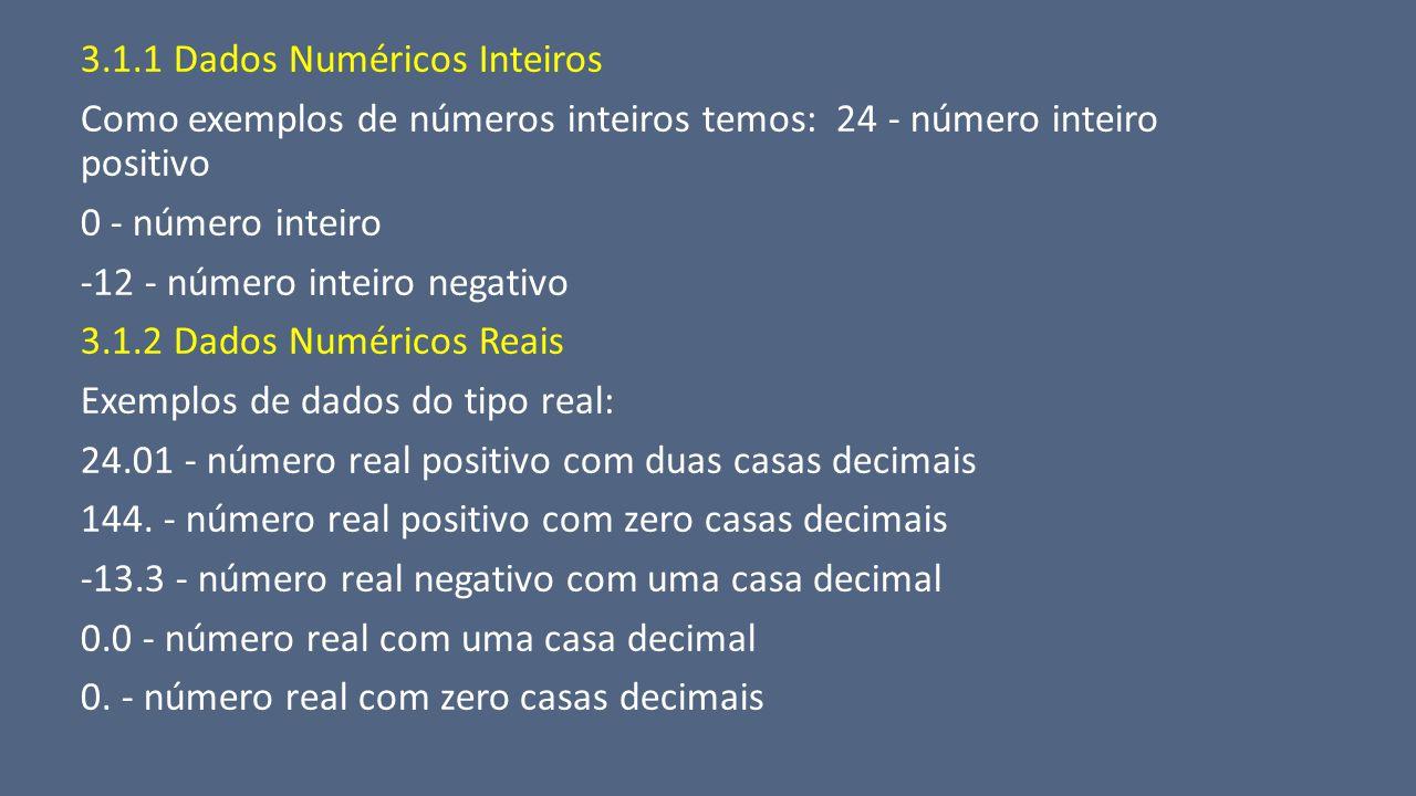 3.1.1 Dados Numéricos Inteiros