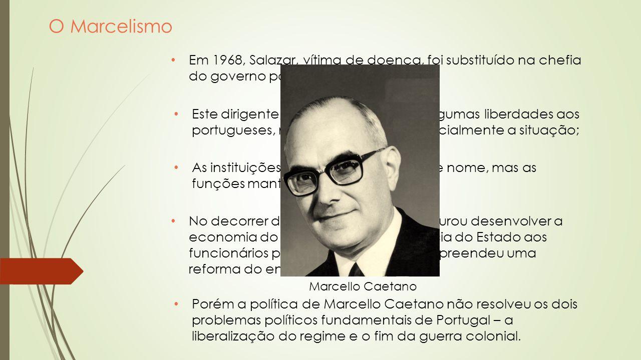 O Marcelismo Em 1968, Salazar, vítima de doença, foi substituído na chefia do governo por Marcello Caetano;