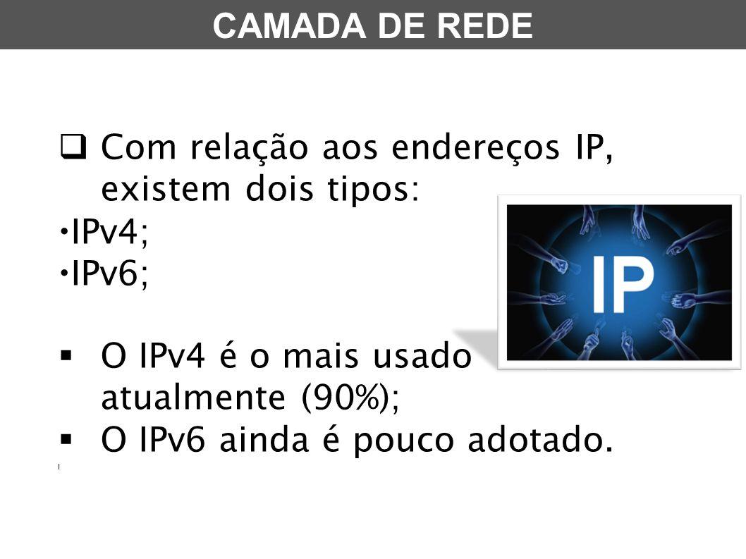 Com relação aos endereços IP, existem dois tipos: IPv4; IPv6;