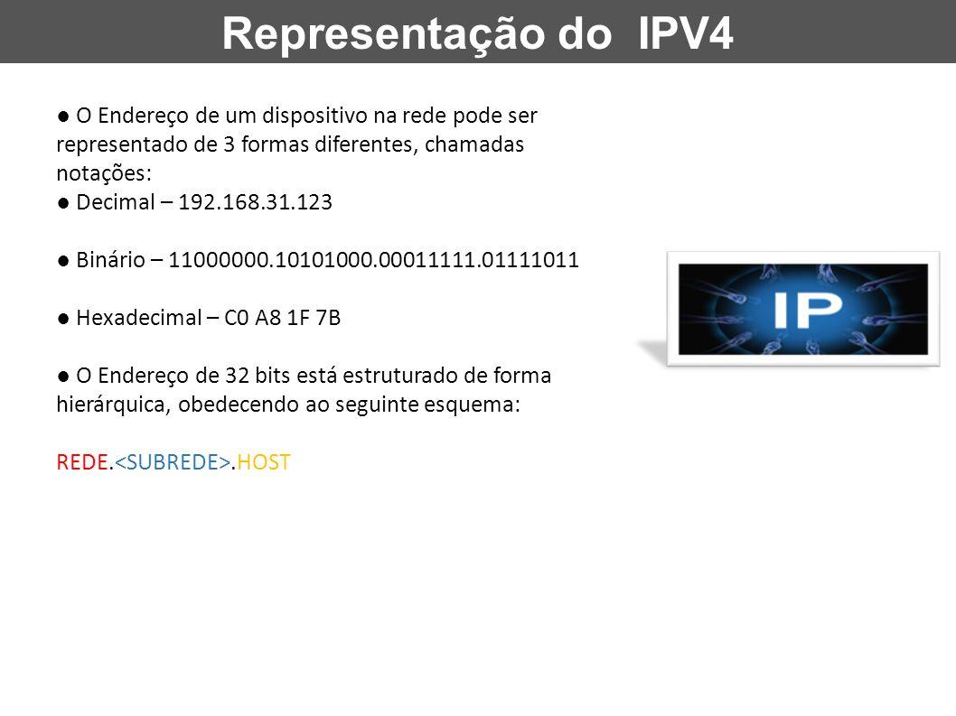 Representação do IPV4 ● O Endereço de um dispositivo na rede pode ser