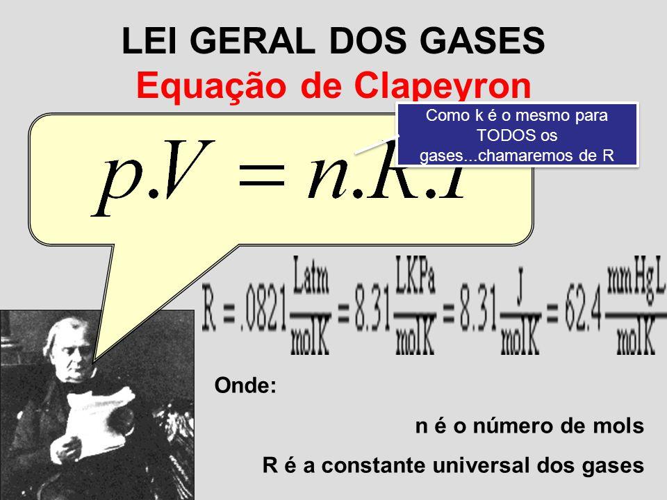 LEI GERAL DOS GASES Equação de Clapeyron